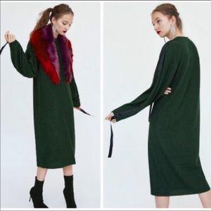 Zara Green Dress with black Stripes on shoulder
